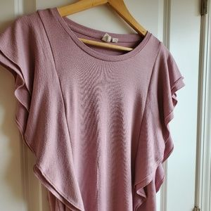 Gap Flutter Sleeve Top Sweater Pink Rose